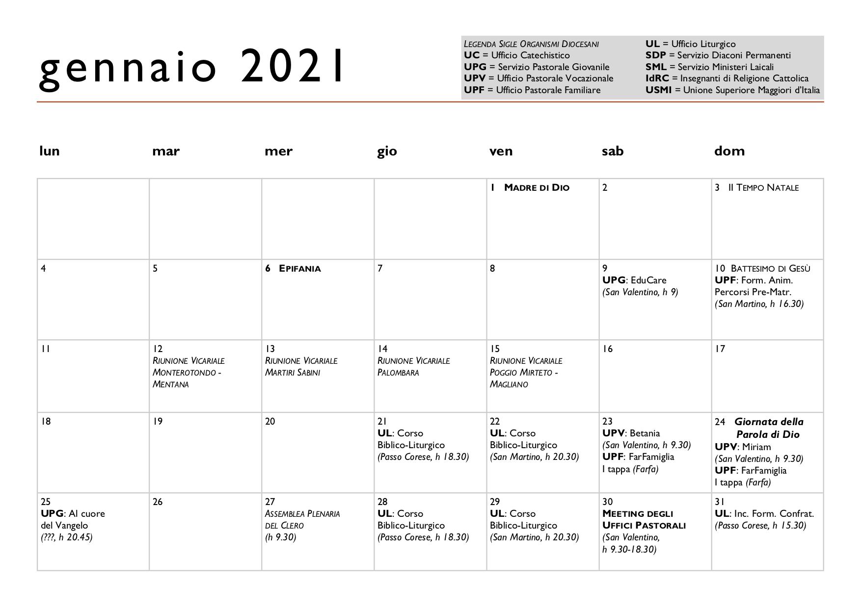 Calendario Diocesano 2020 2021 – Diocesi di Sabina – Poggio Mirteto